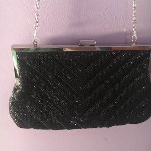 Charming Charlie Black Sequin Clutch with Strap